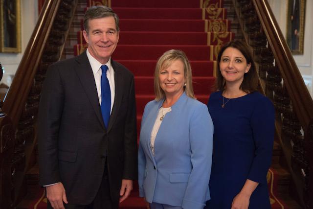Governor Cooper, Carol Wolfenbarger, Secretary Cohen
