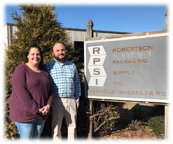Sarah & Brandon Whitson, owners of Robertson Packaging Supply, Inc.