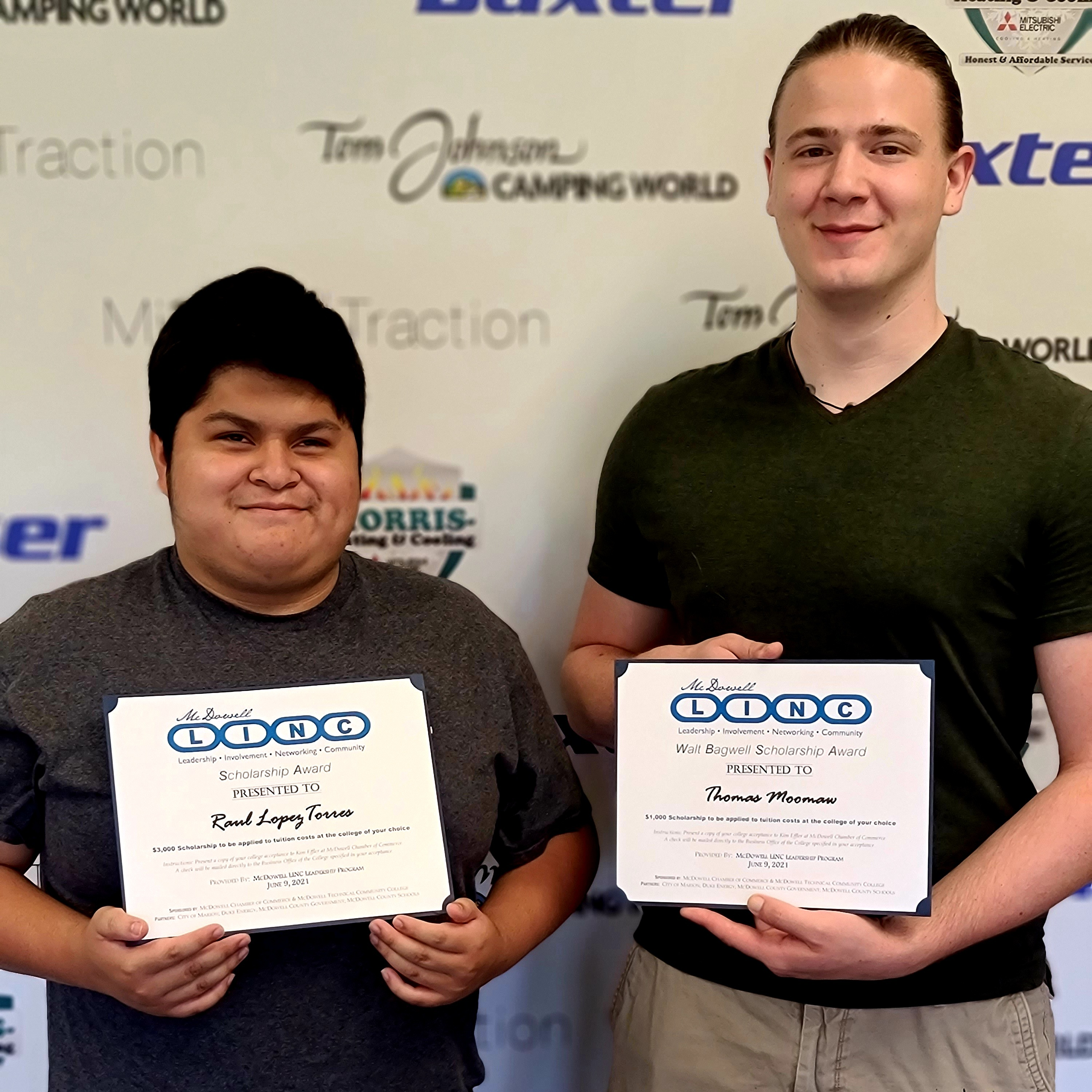 McDowell Chamber Student LINC Scholarship recipients Raul Lopez Torres and Thomas Moomaw celebrate their awards.