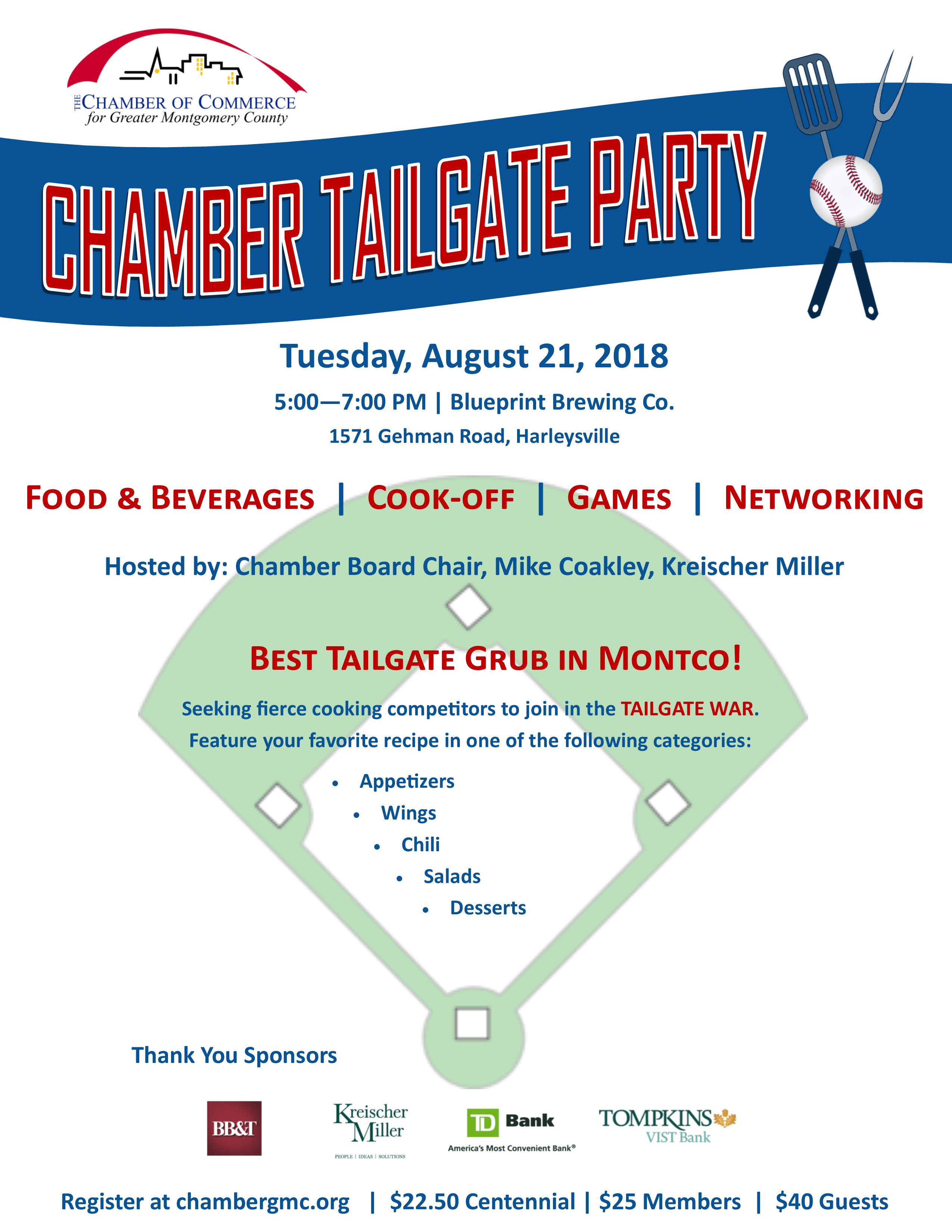 Chamber Tailgate and Chairman's Reception Cook-off Cooking Competition Best Tailgate in Montco Tailgate War