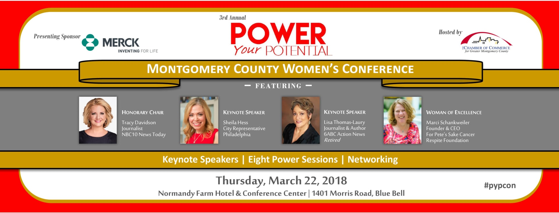 power your potential, montgomery county women's conference, women in business, honorary chair, tracy davidson, keynote speaker, sheila hess, lisa thomas laury, woman of excellence, marci schankweiler