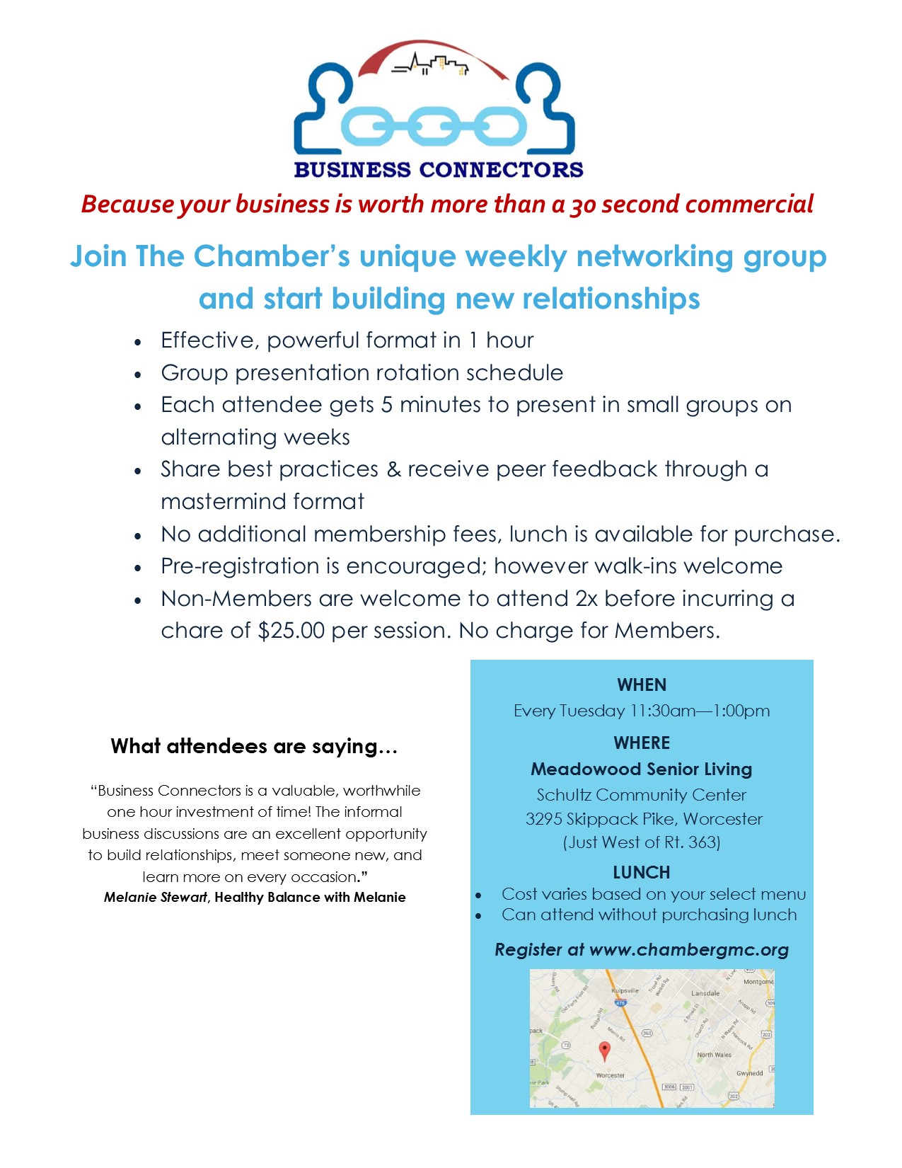 business connectors weekly networking group lansdale worcester skippack blue bell north wales gwynedd