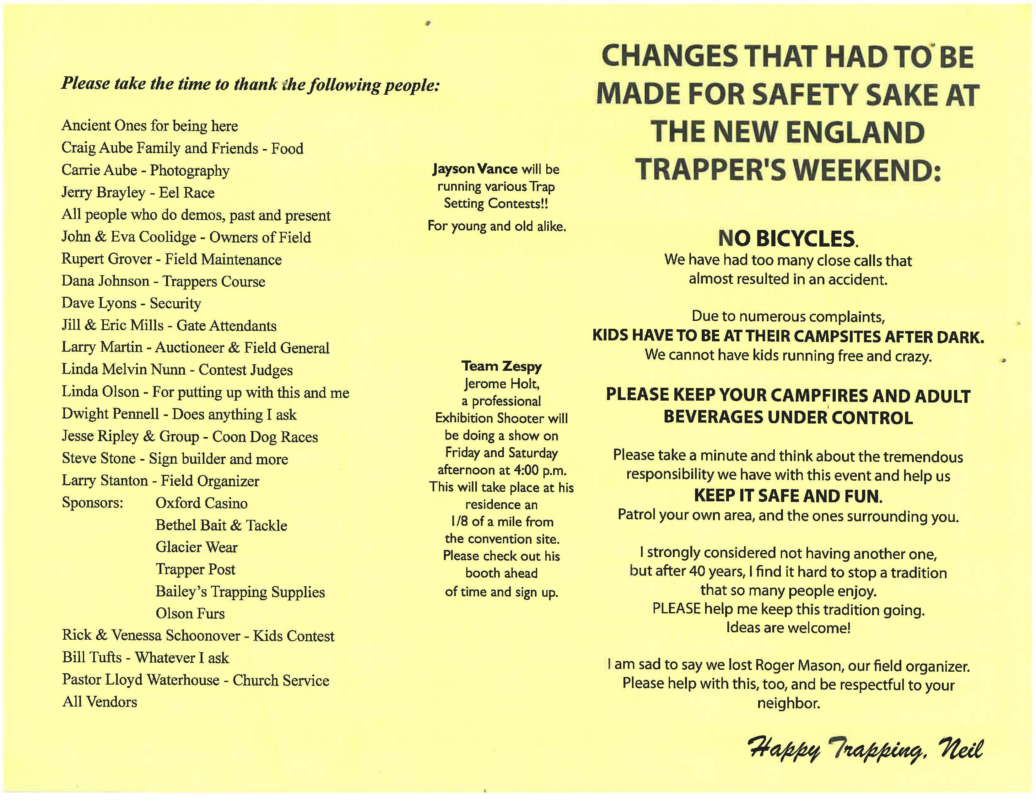 Trappers Weekend 2017-Schedule