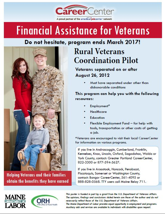 CareerCenter Veterans Financial Assistance