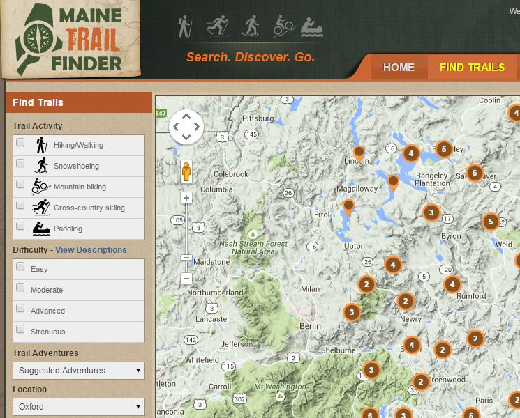Maine Trail Finder Bethel Area