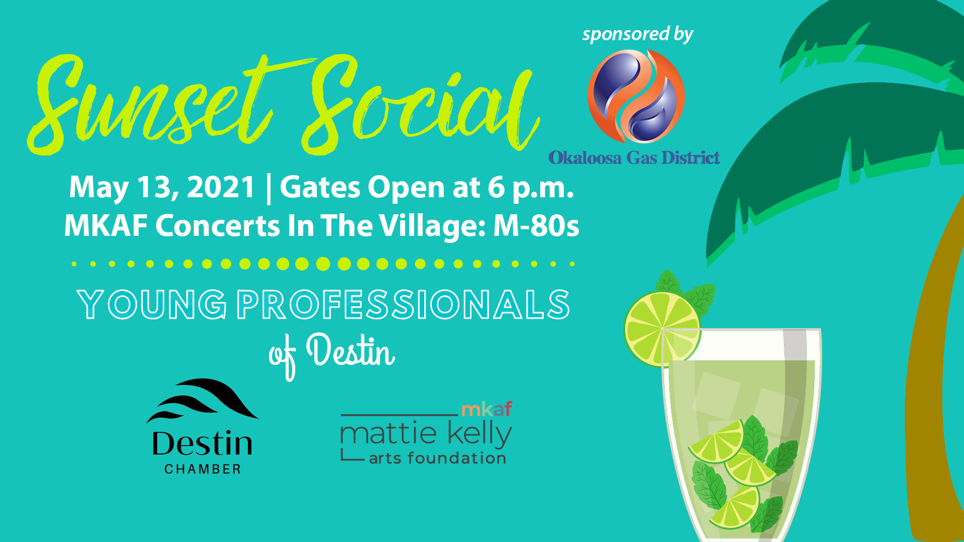 Young Professionals of Destin Sunset Social Okaloosa Gas Mattie Kelly Arts Foundation Concerts In The Village M-80s