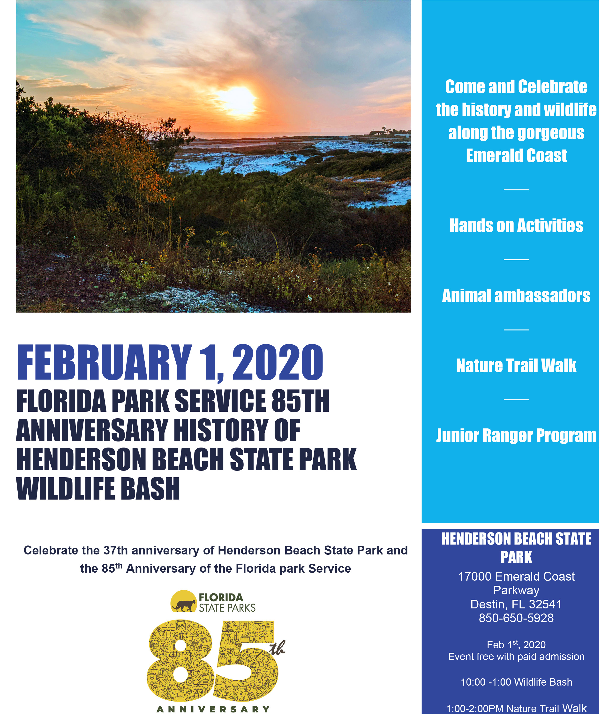 Henderson Beach State Park 85th Anniversary