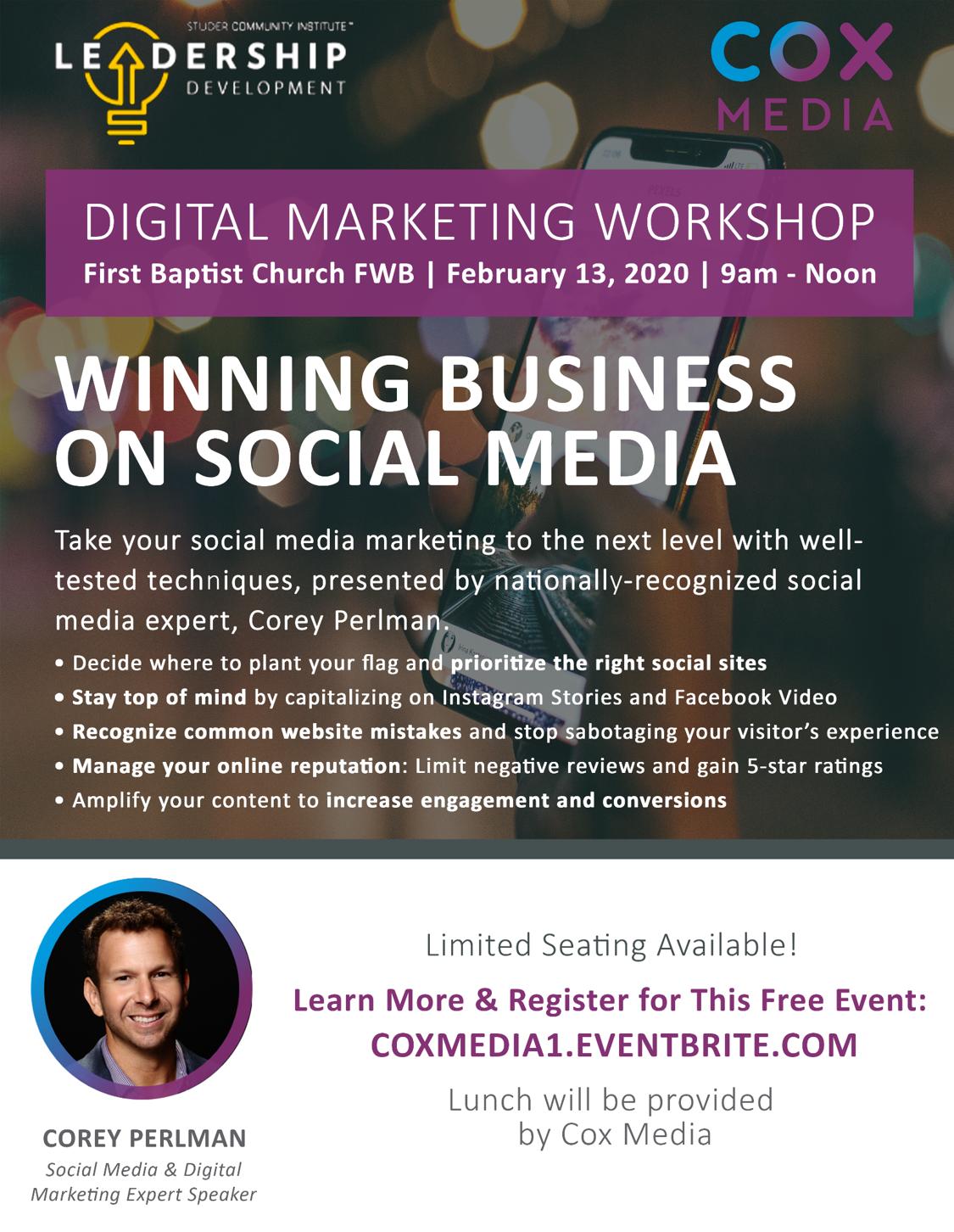 Winning on Social Media Event Flyer