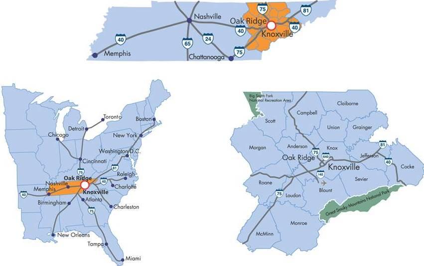 Oak Ridge TN Locator Maps