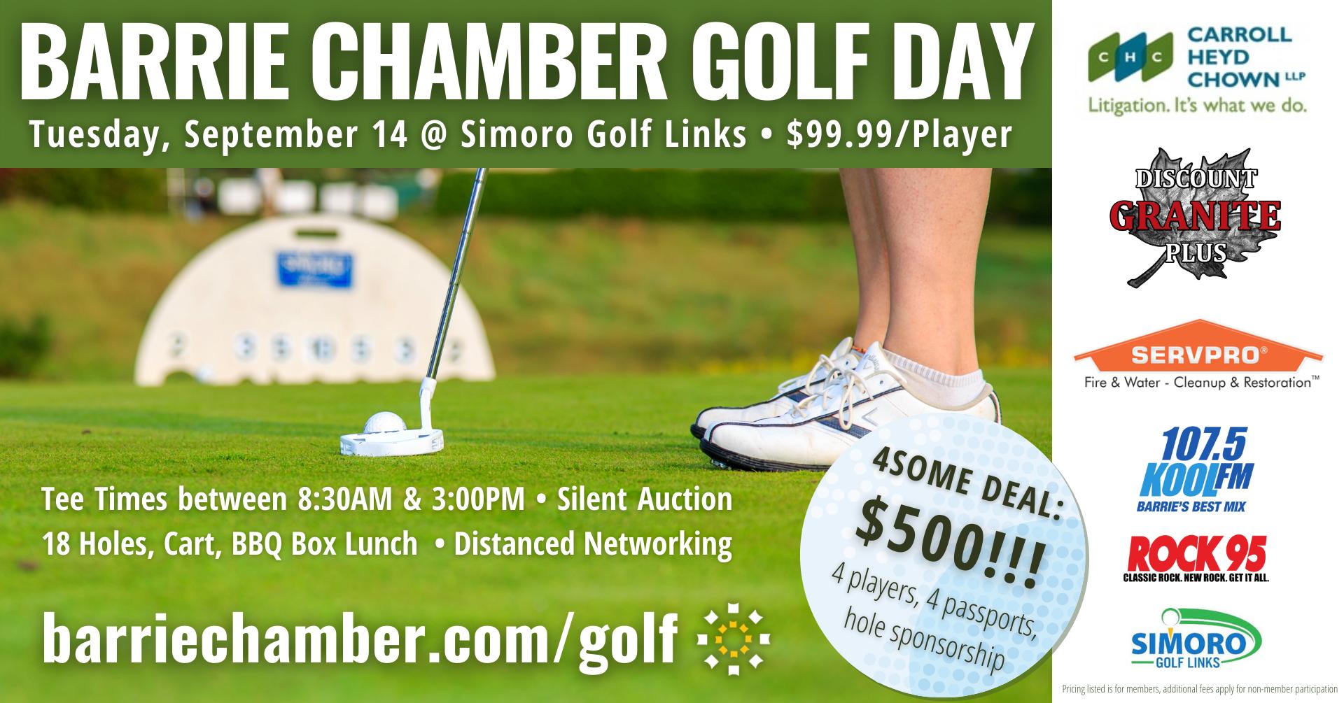 Golf Day - September 14, 2021 - Simoro Golf Links - $99.99/player