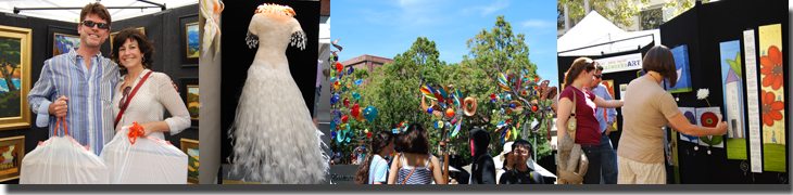 Festival of the Arts photo montage of shoppers, artwork, clothing and the street fair