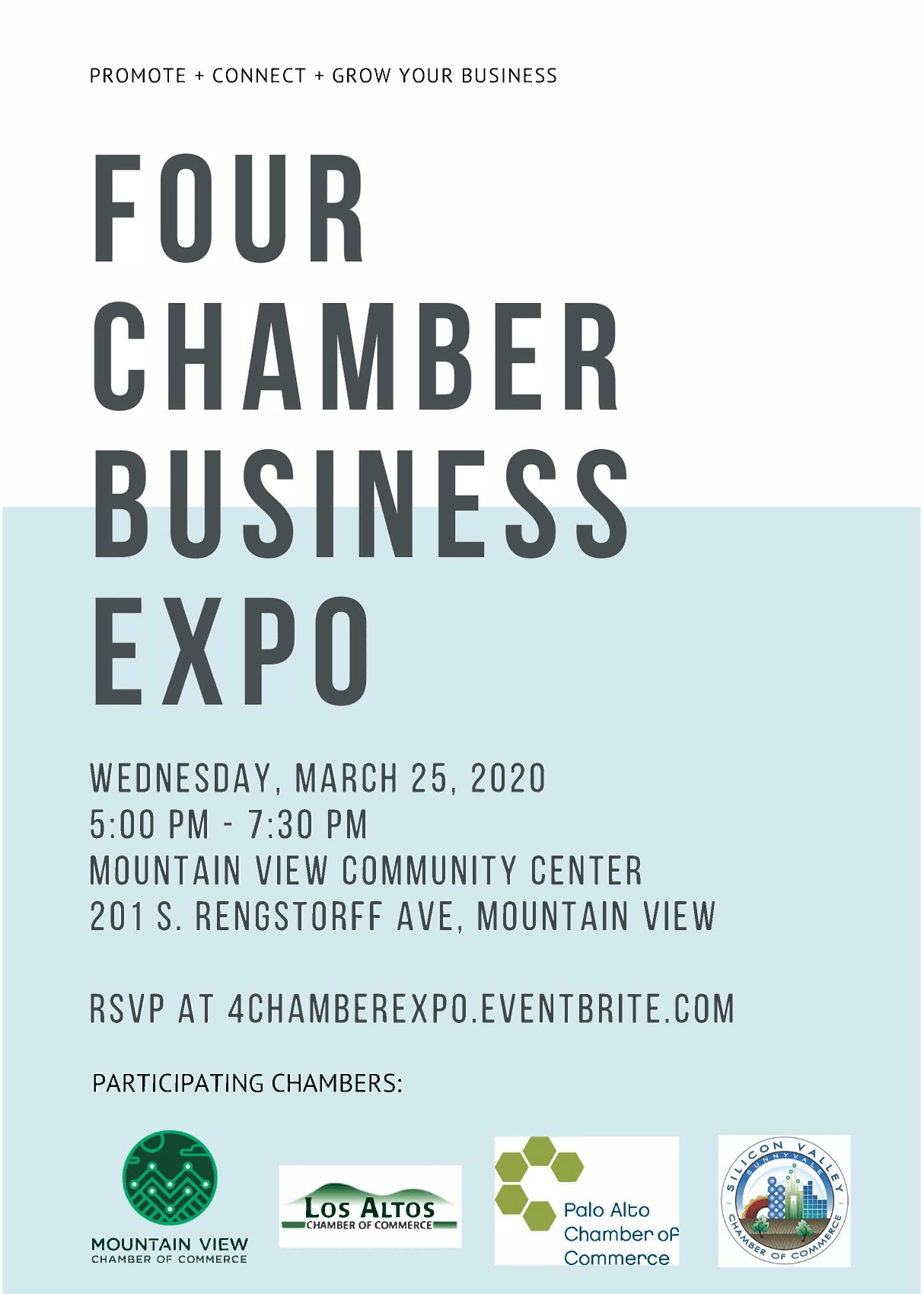 4 Chamber Expo 2020 is Wednesday, March 25th 2020 at Mountain View Community Center, 5:00 - 7:30 pm