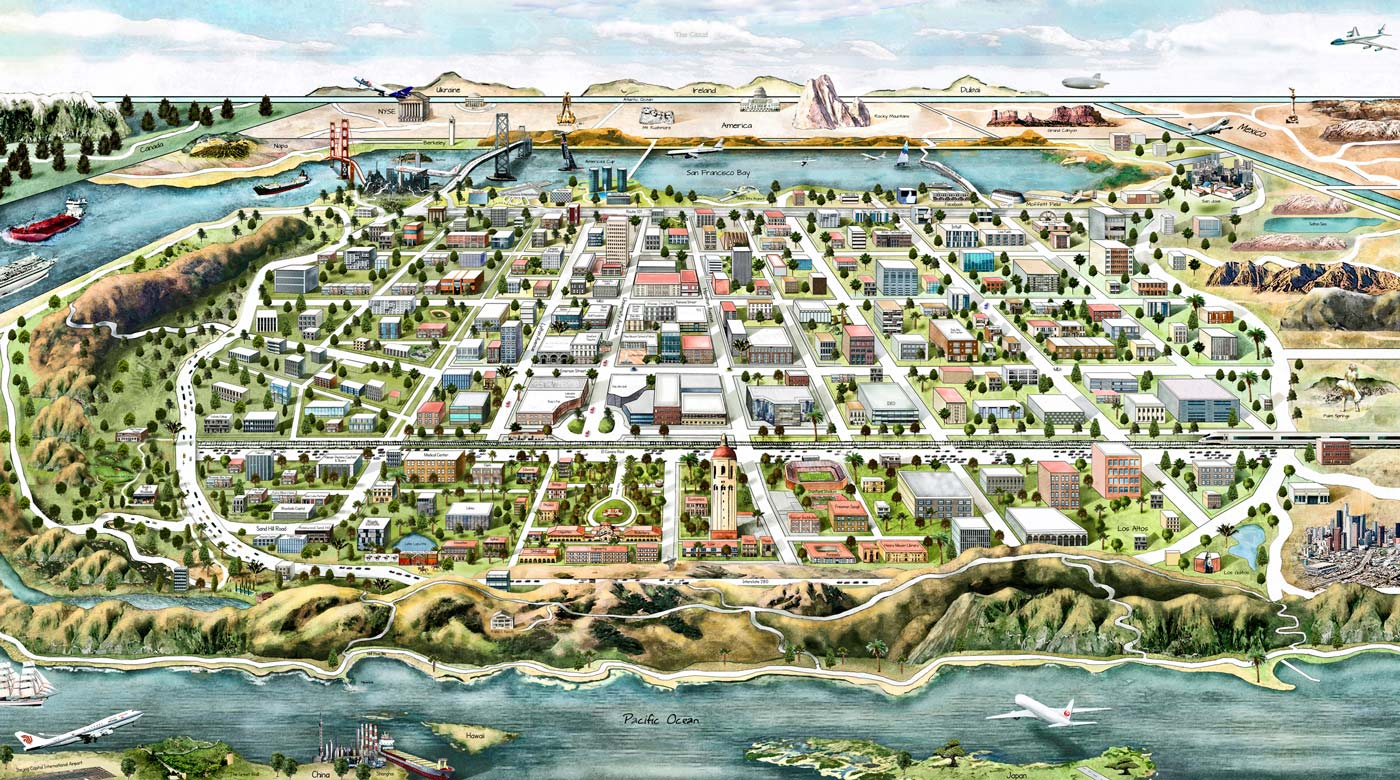 Palo Alto City Map Illustration