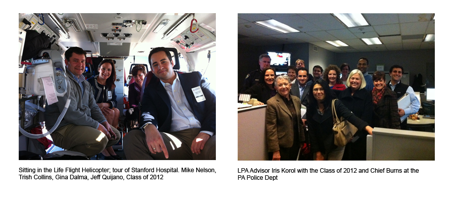 IPA Photos: Right Photo: Sitting in the Life Flight Helicopter, Tour of Stanford Hospital, Class of 2012.  Left photo: LPA Advisor Iris Korol with Class of 2012 and Chief Burns at the PA Police Department