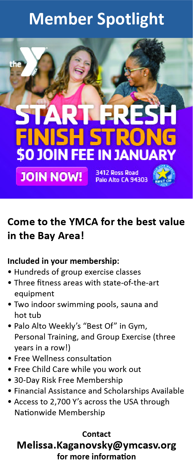 Start Fresh, Finish Strong! January New Member promotion at Palo Alto YMCA