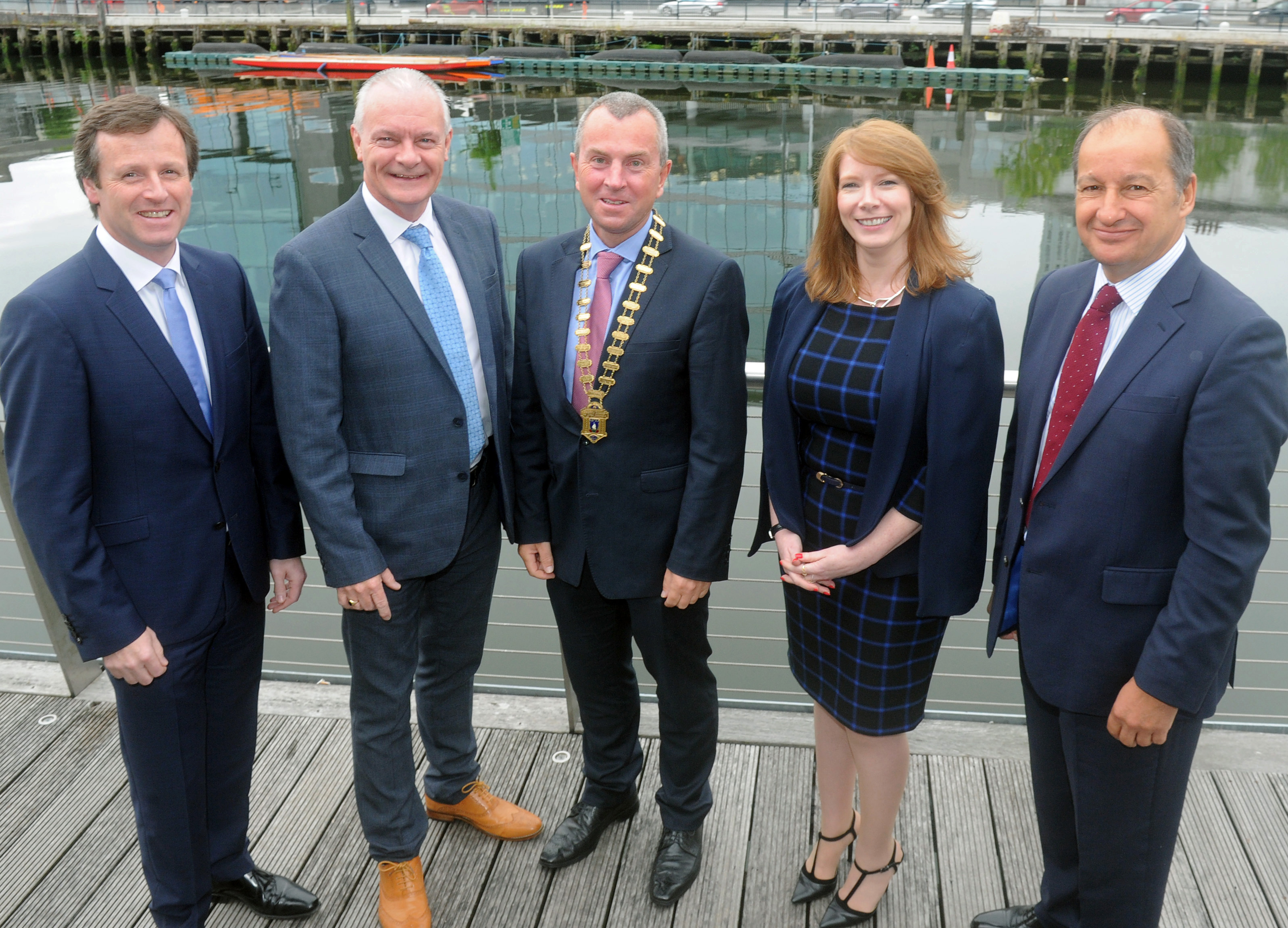 Pictured at the May Business Breakfast (L-R) Kyran Johnson, Janssen; Aidan Forde, Irish Examiner; Bill O'Connell, Cork Chamber; Moira Horgan, BITC; Chris Martin, Musgrave Group.