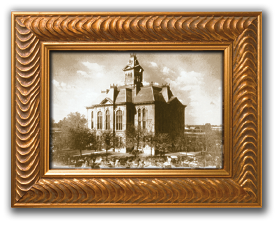 Austin County Courthouse in frame