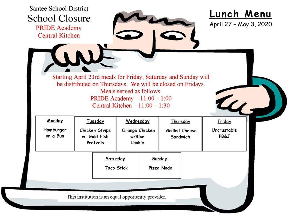 Santee School District Lunch Menu