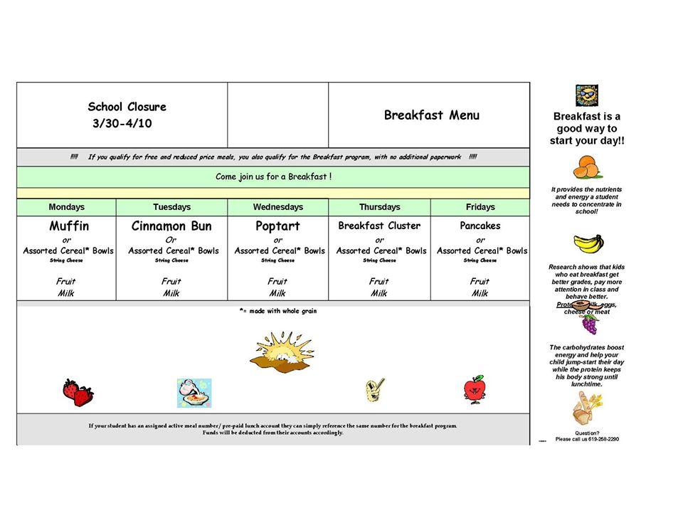 Santee School District Breakfast Menu