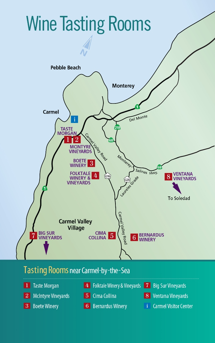 Wine Tasting Rooms Near Carmel Map