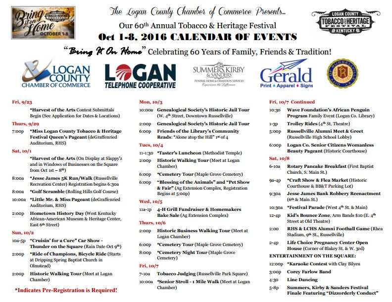 Tobacco & Heritage Festival Calendar of Events