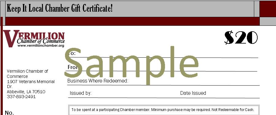 keep it local gif certificates vermilion chamber of commerce la
