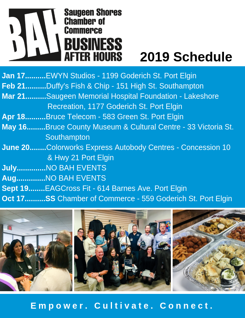 Business After Hours Schedule