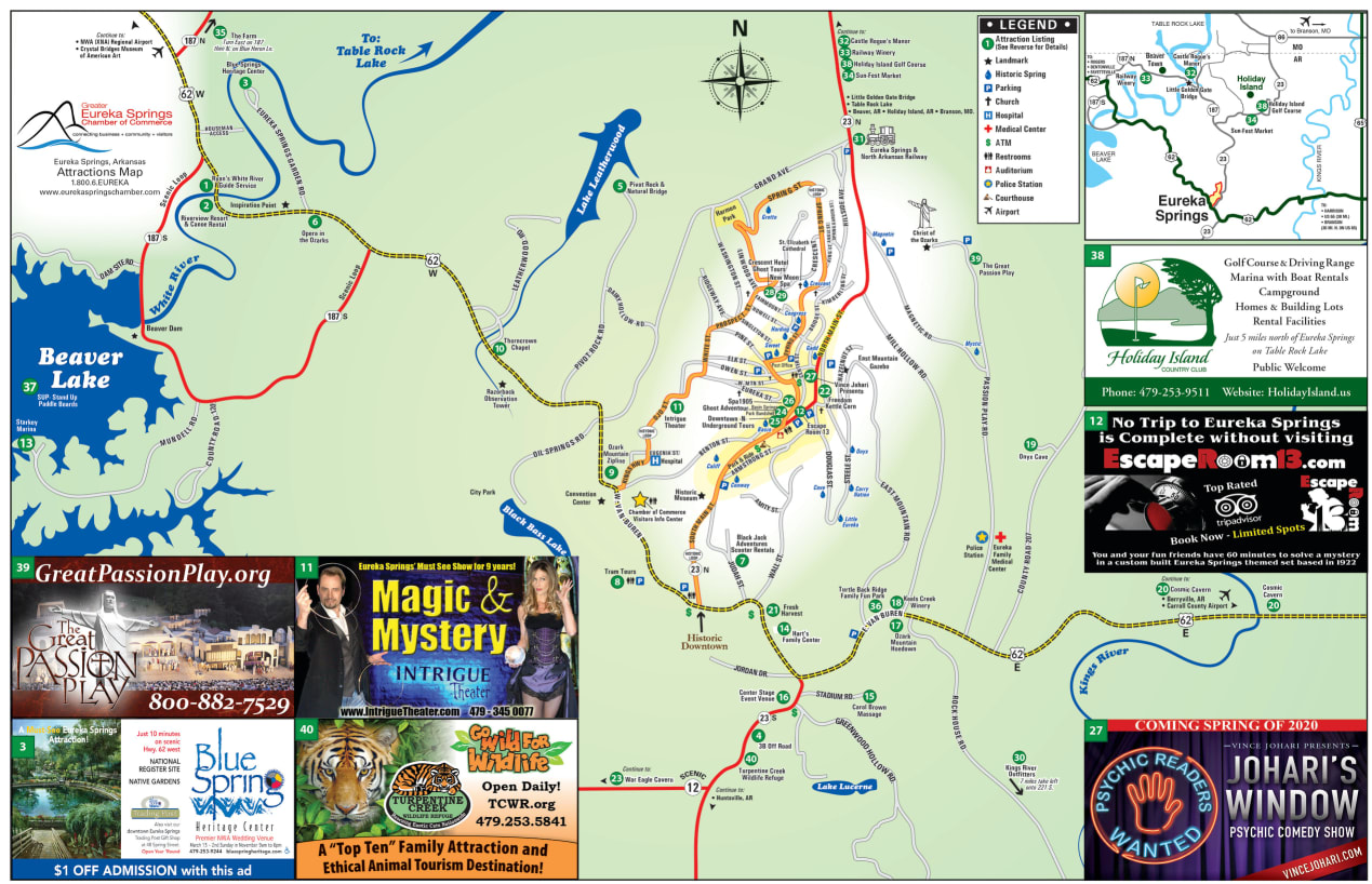 2019 Eureka Springs Attractions Map