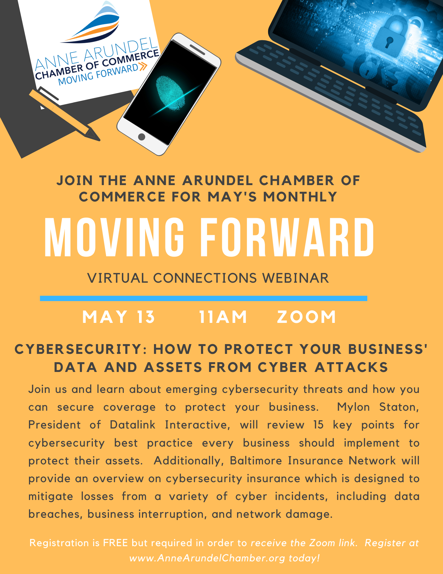 Anne Arundel COC - Moving Forward Webinar: Cybersecurity (Balto & DC Metro) @ Virtual
