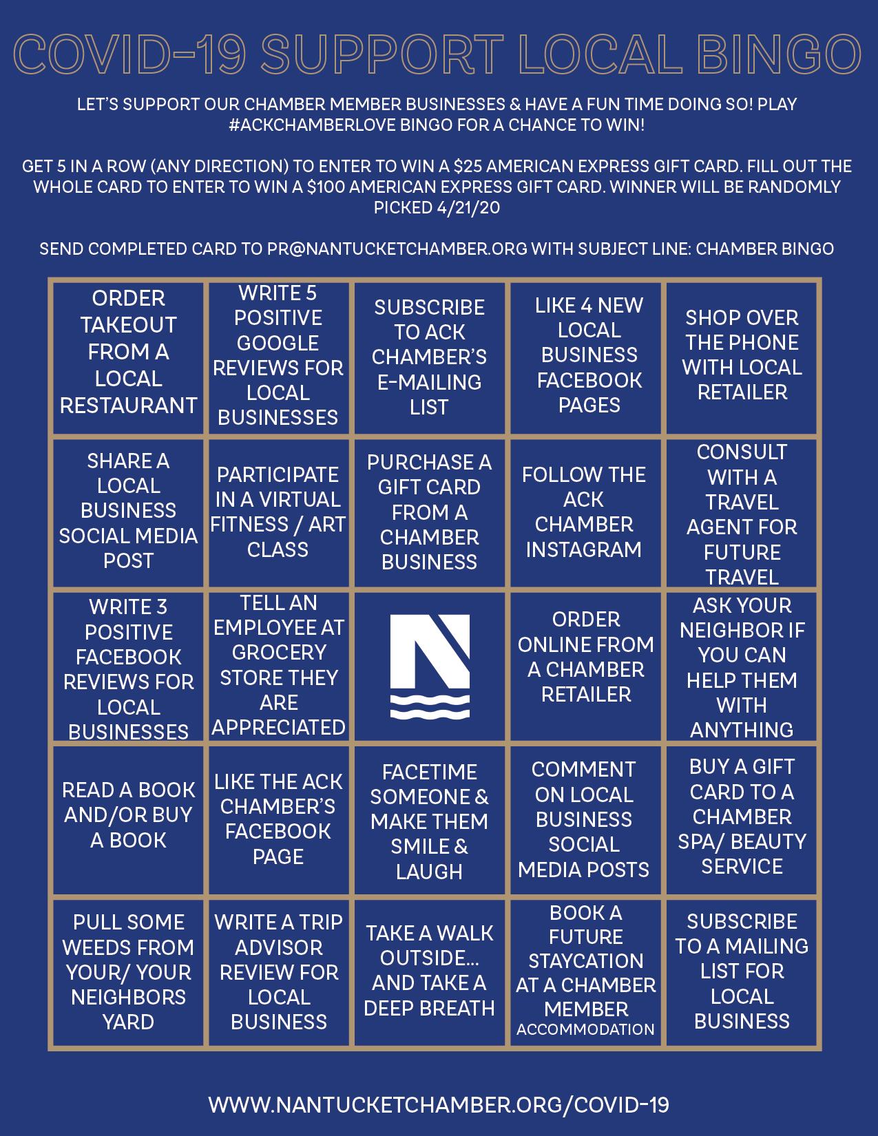 COVID19 Bingo Flyer ENTER TO WIN Nantucket