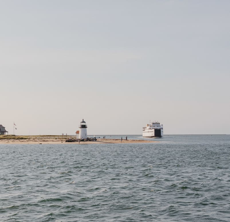 Steamship Rounding Brant Point Lighthouse