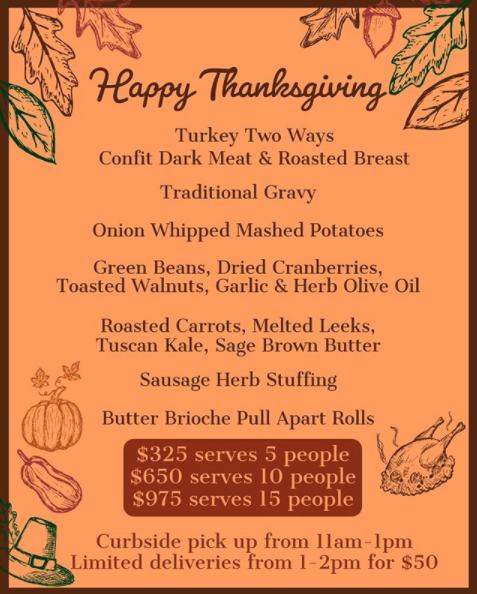 PPX Events Thanksgiving Menu 2020