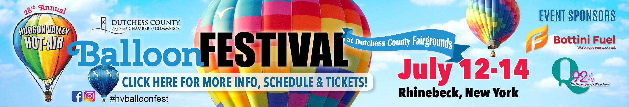 This is a banner advertisement for the Hudson Valley Balloon Festival held July 12, 13, &14 at the Dutchess County Fairgrounds. Click here to learn more about tickets, activities, and info.