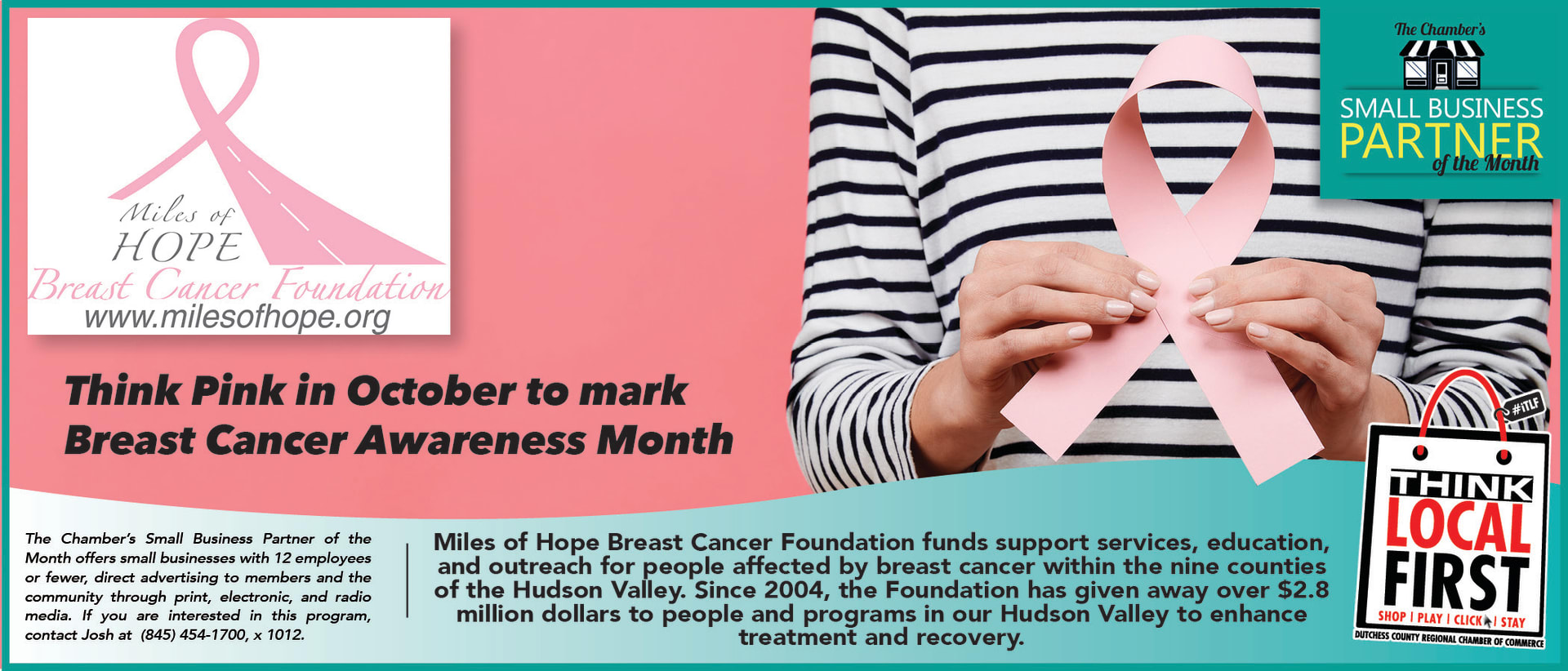This is an advertisement for the Chamber's small business Partner of the month, a program that small businesses can take advantage of if they are members. Click here to visit Miles of Hope website.