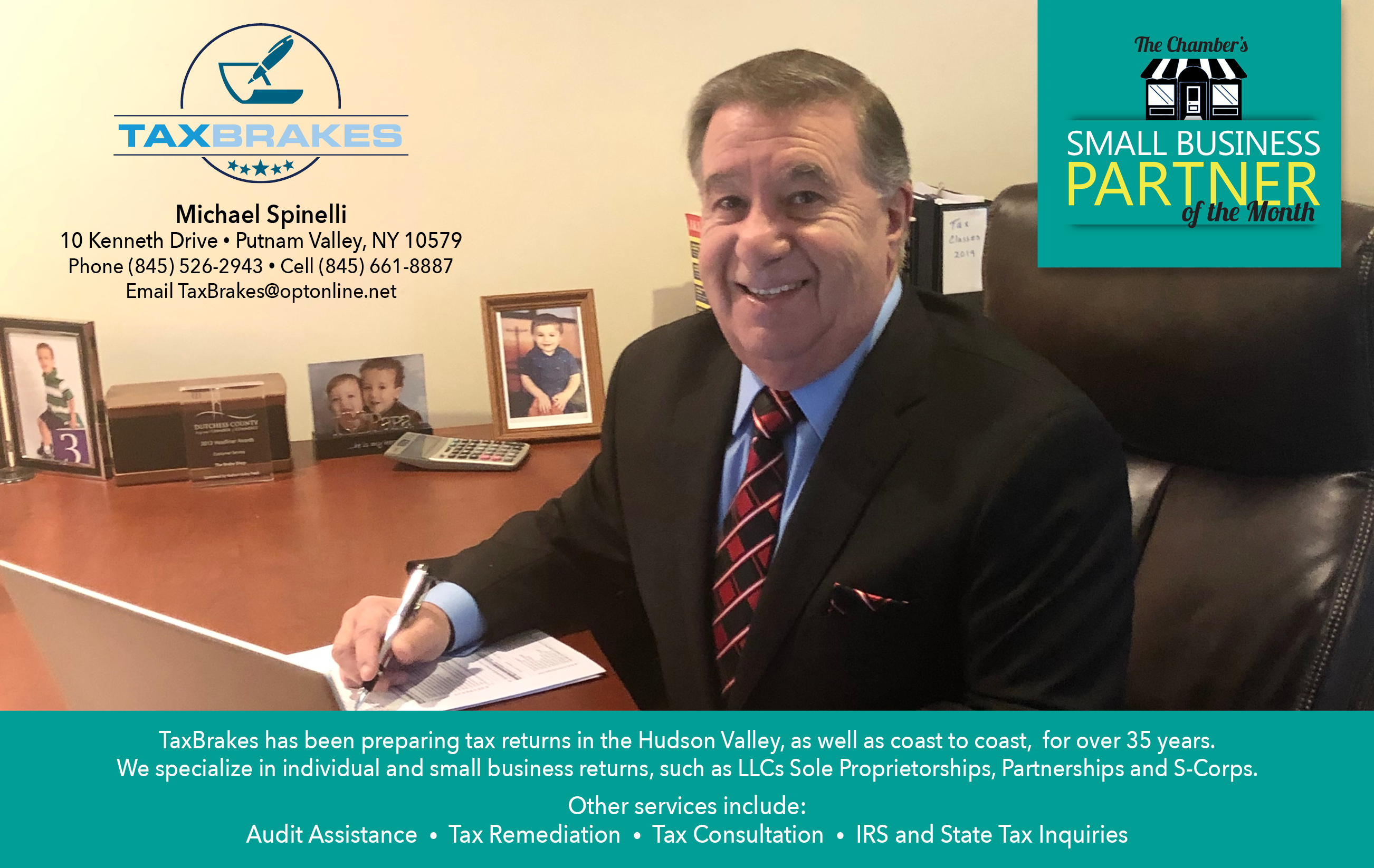 This is an advertisement for the Chamber's small business Partner of the month, a program that small businesses can take advantage of if they are members. Click here to visit Tax Brakes' website.