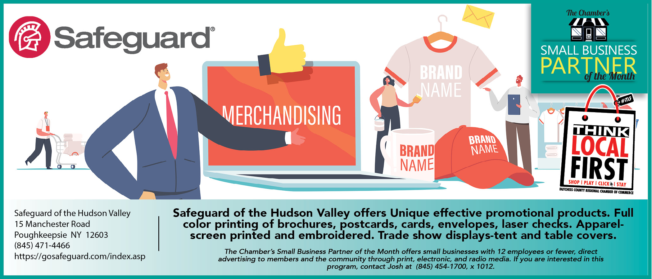 This is an advertisement for the Chamber's small business Partner of the month, a program that small businesses can take advantage of if they are members. Click here to visit Safeguard website.