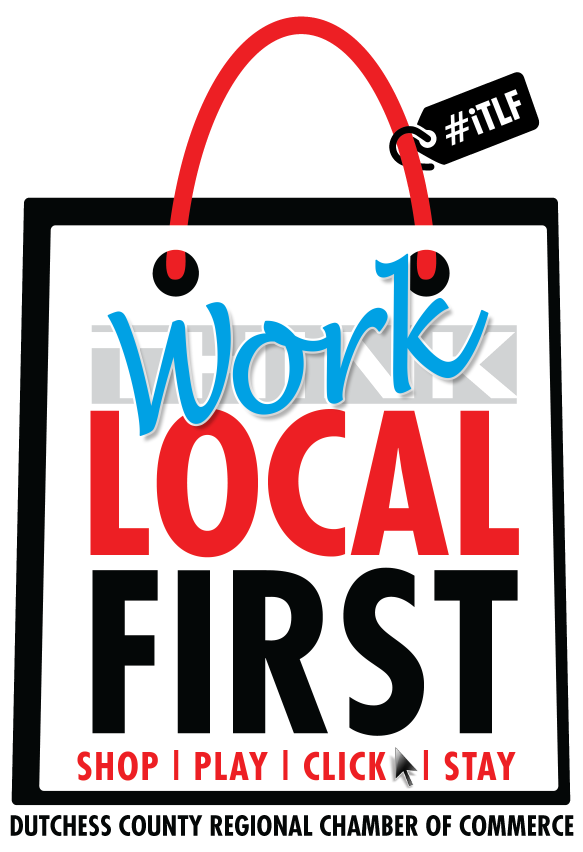 This is an icon urging people to think local when they shop, play, click, stay.