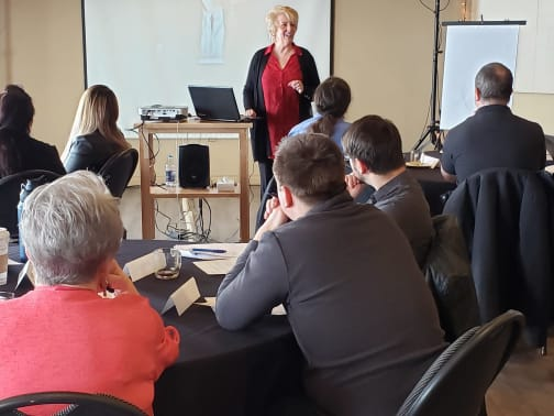 Deb McClelland provides governance training to Greater Vernon Chamber members, including local non-profits.