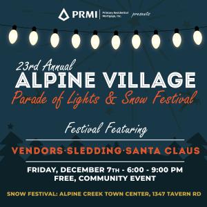 23rd Annual Alpine Village Parade of Lights & Snow Festival