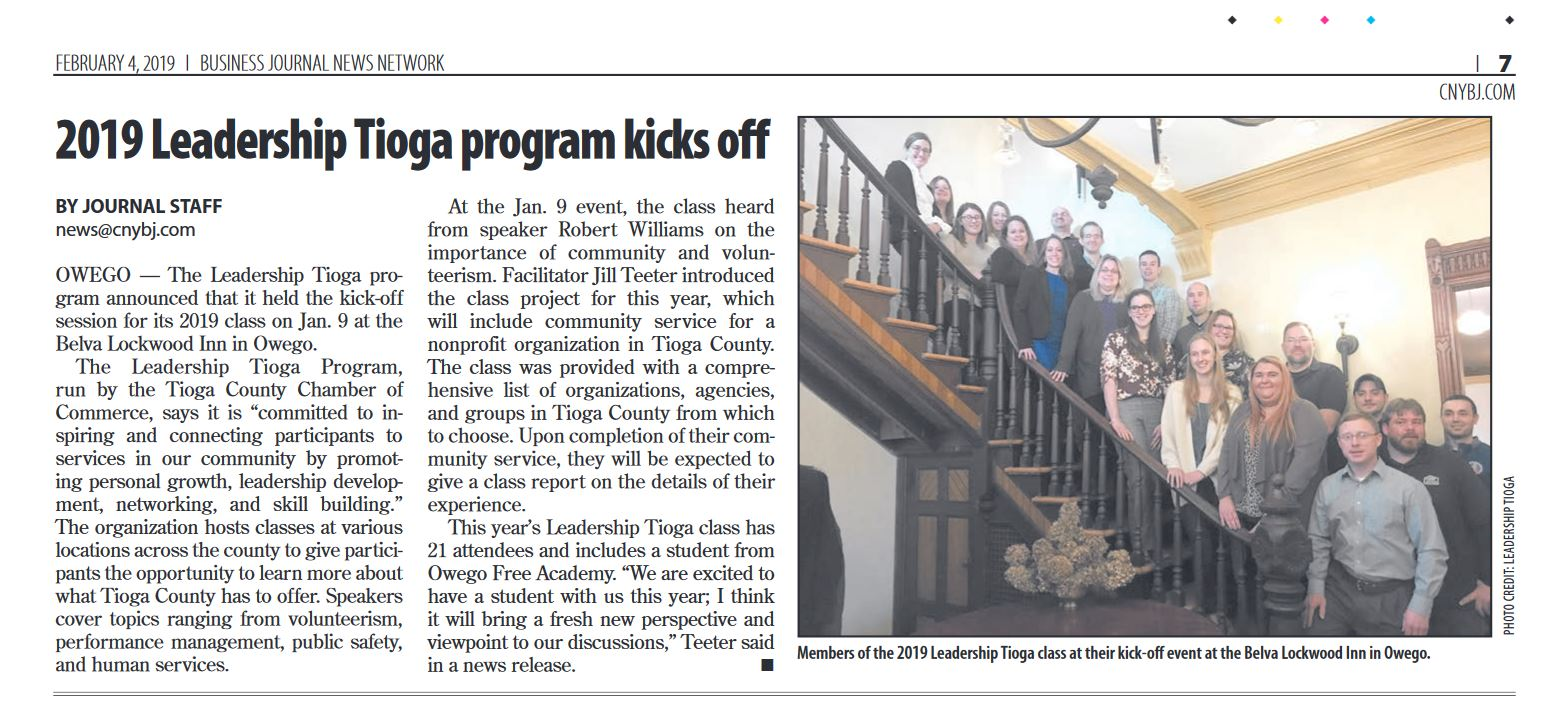 2019 Leadership Tioga Program Kick-off article in the Central NY Business Journal