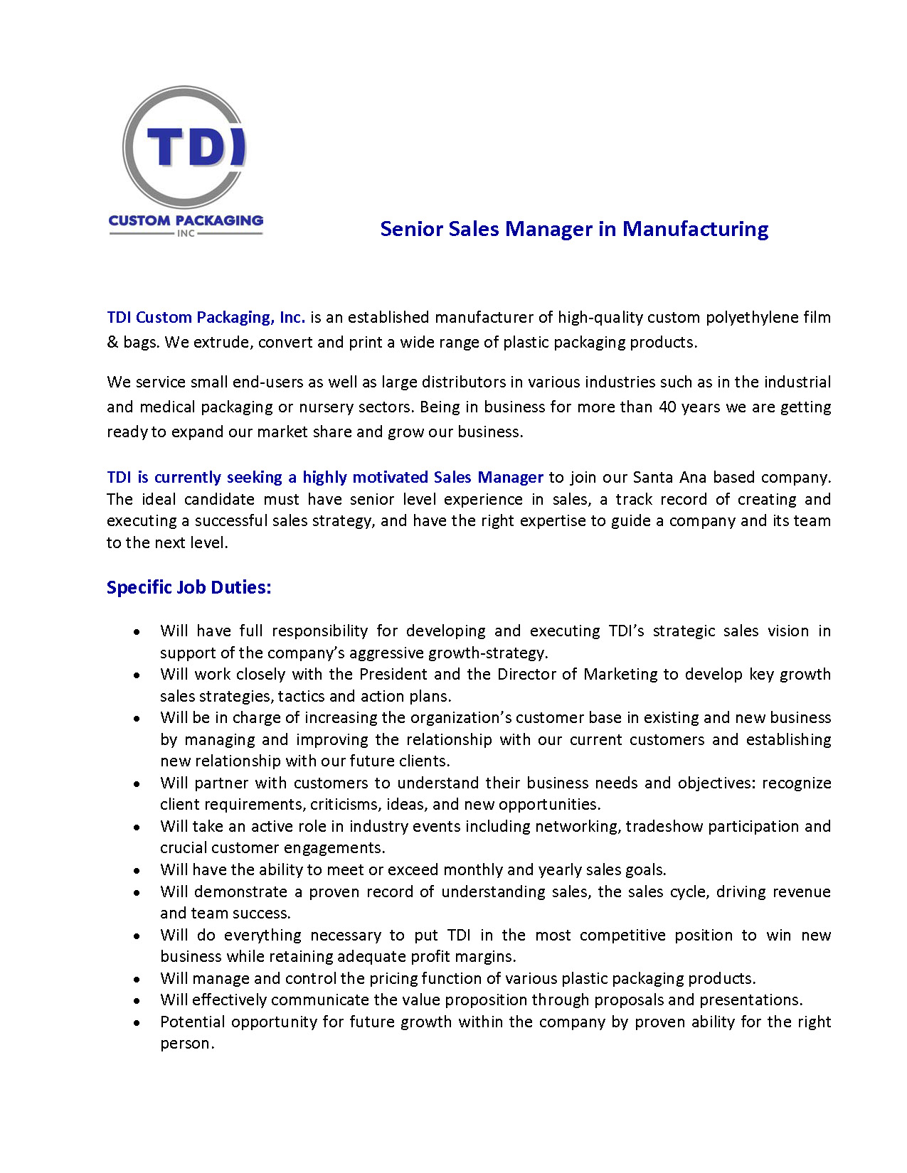 TDI Custom Packaging is hiring a SENIOR SALES MANAGER