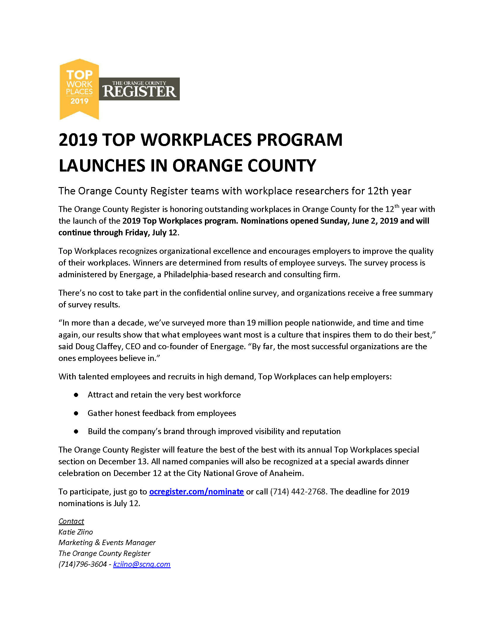 2019 Top Workplaces Program Launches In Orange County - Santa Ana