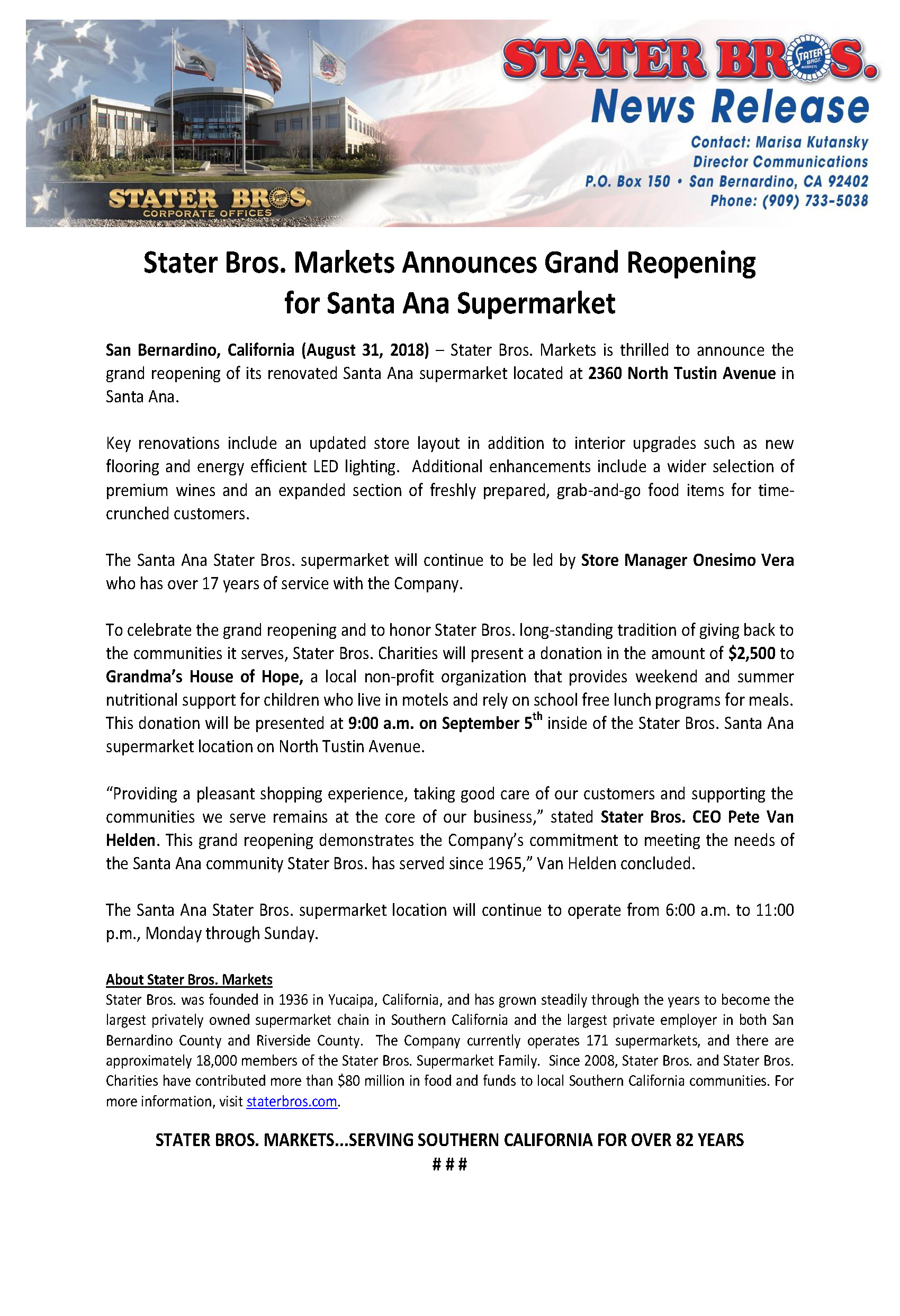 Stater Bros. Markets Announce Grand Reopening for Santa Ana ...