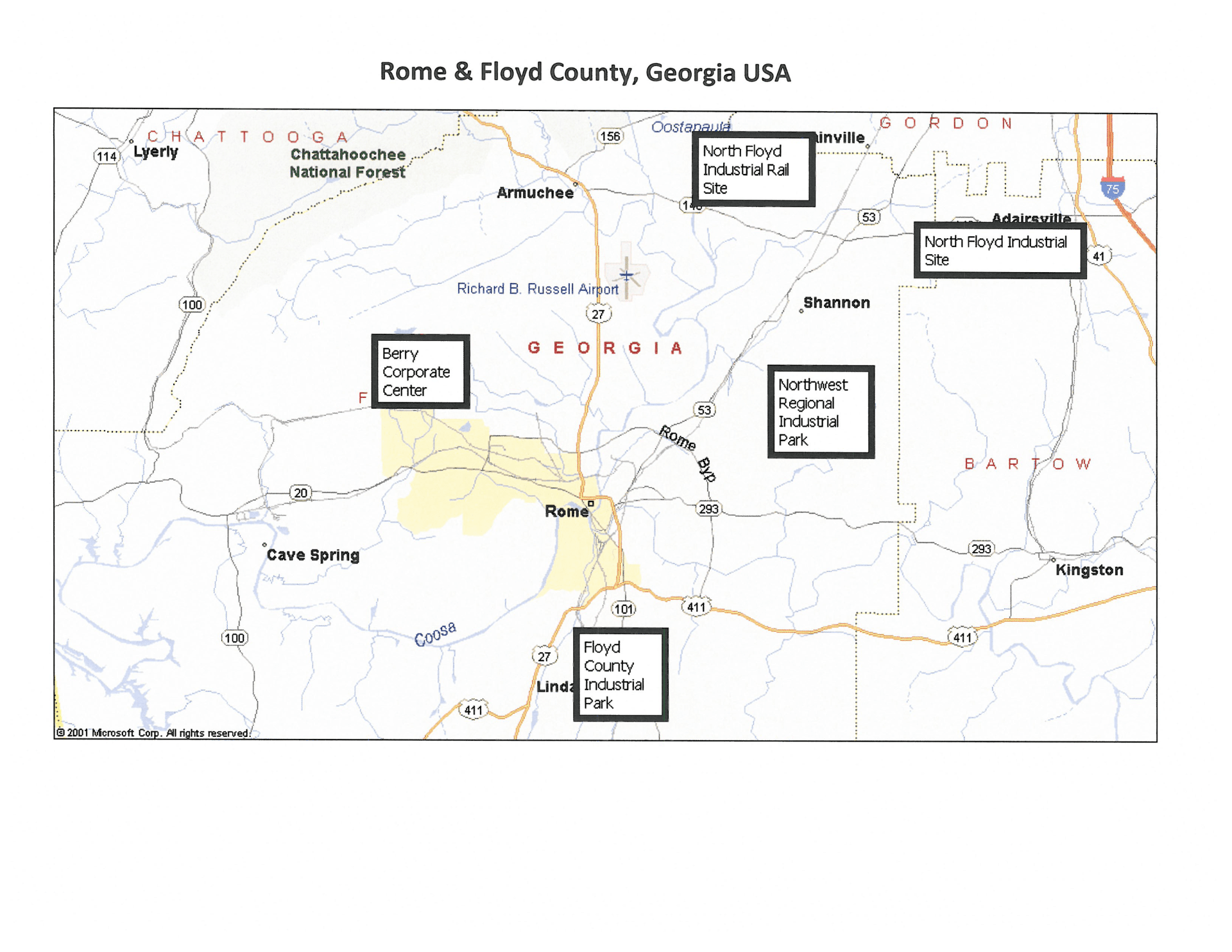 MAP-OF-INDUSTRIAL-PARKS in Rome And Floyd County
