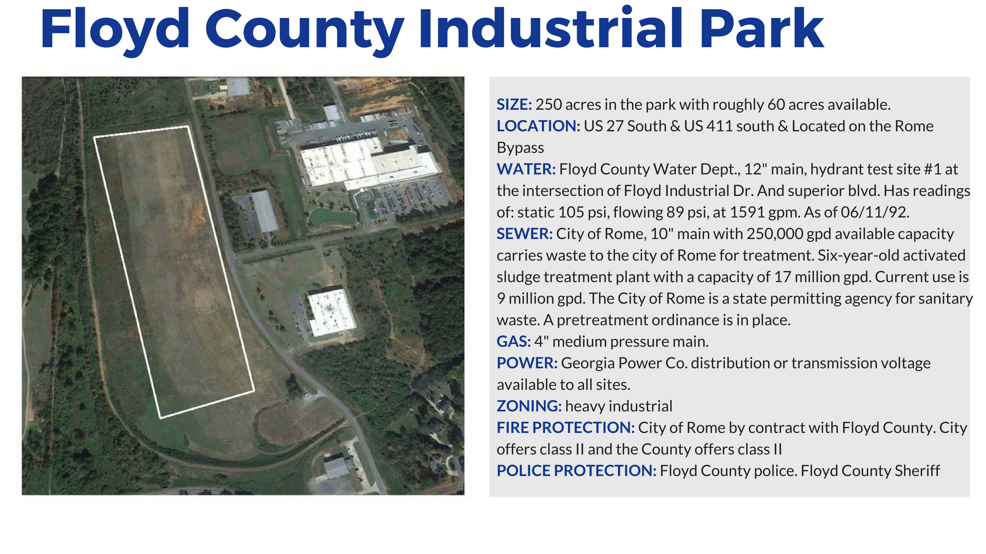 Floyd County Industrial Park in Rome Georgia and Floyd County Georgia