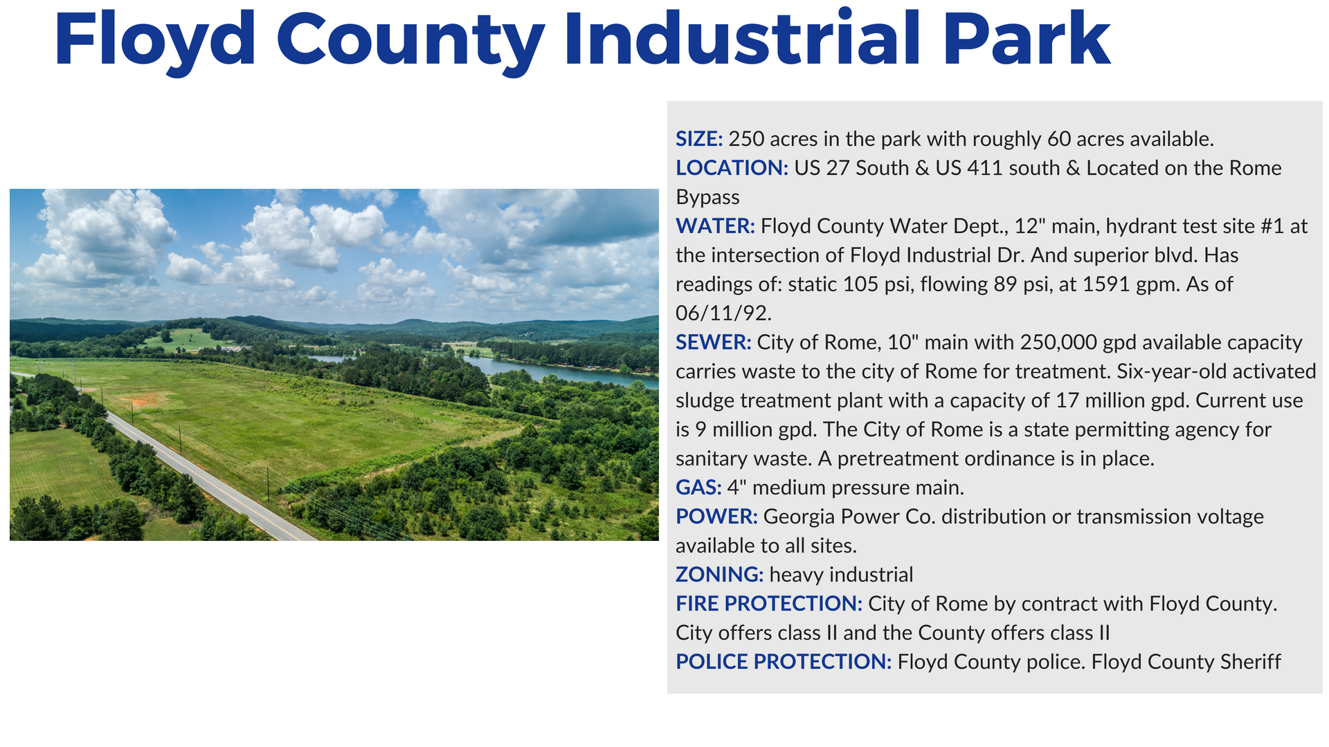 Floyd County Industrial Park in Rome Georgia and Floyd County Georgia