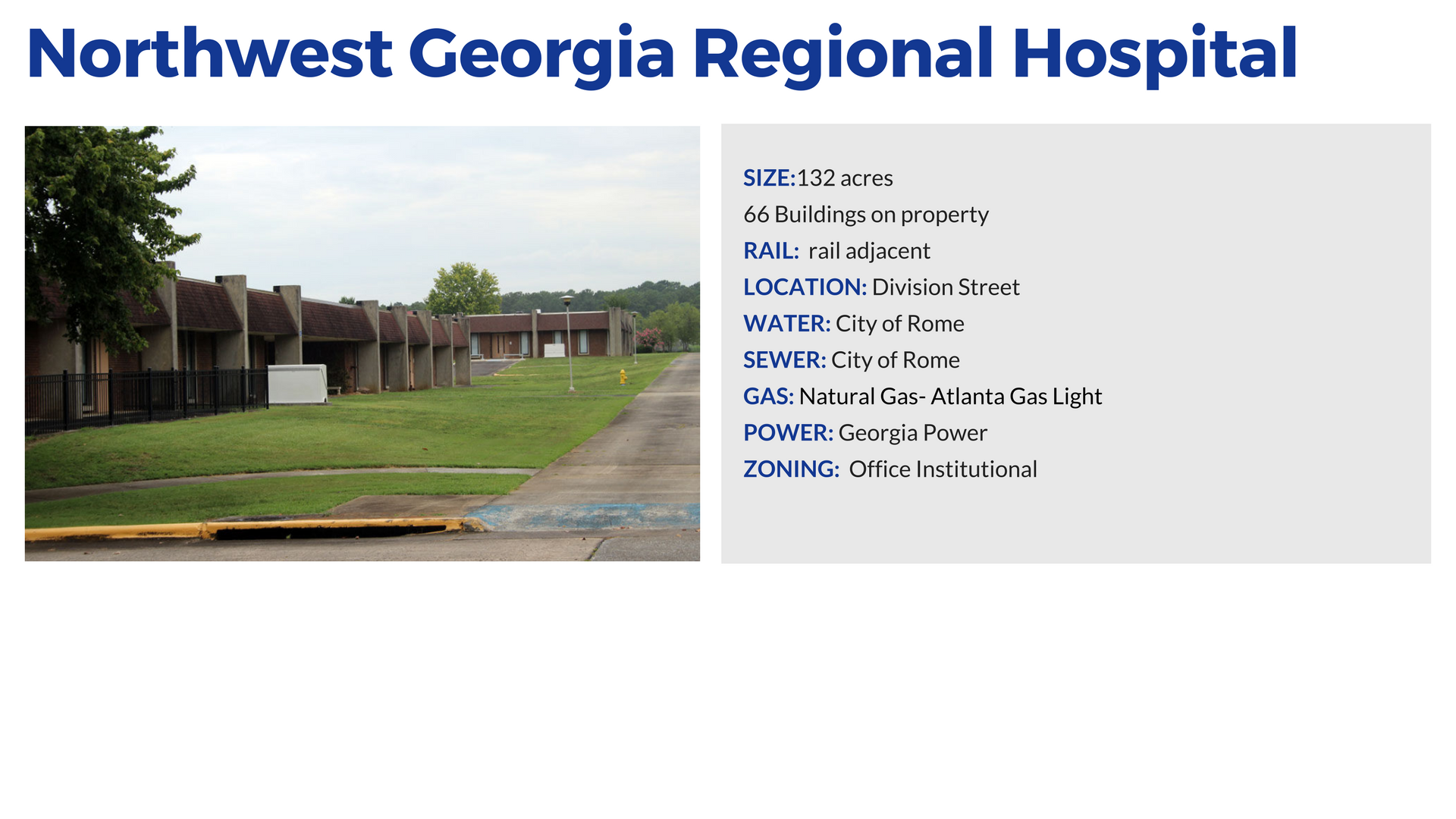 NWGA regional hospital available buildings in Rome and Floyd County Georgia