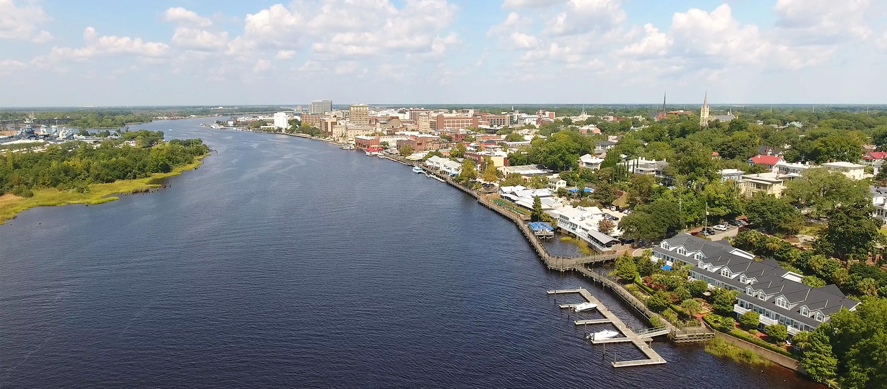 Aerial view of downtown Wilmington river front