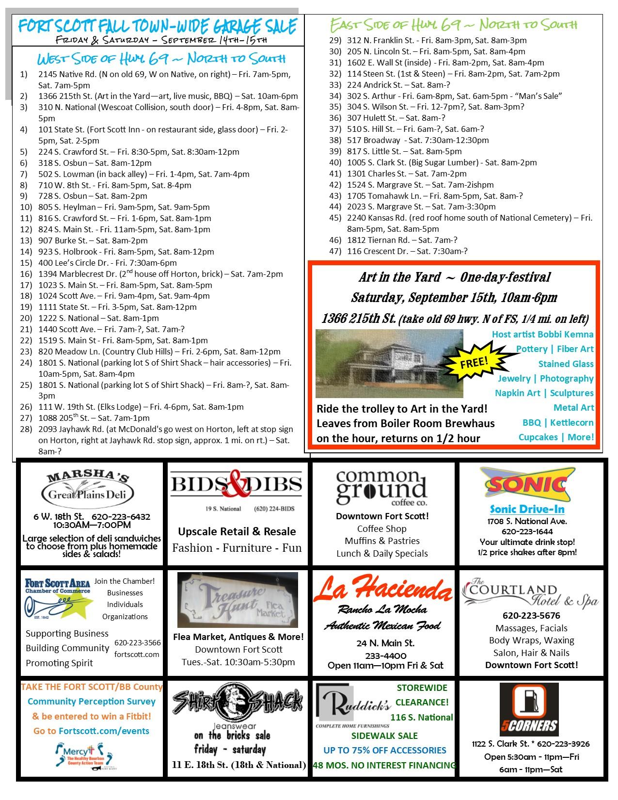 Town-wide Garage Sale Listing - Fort Scott