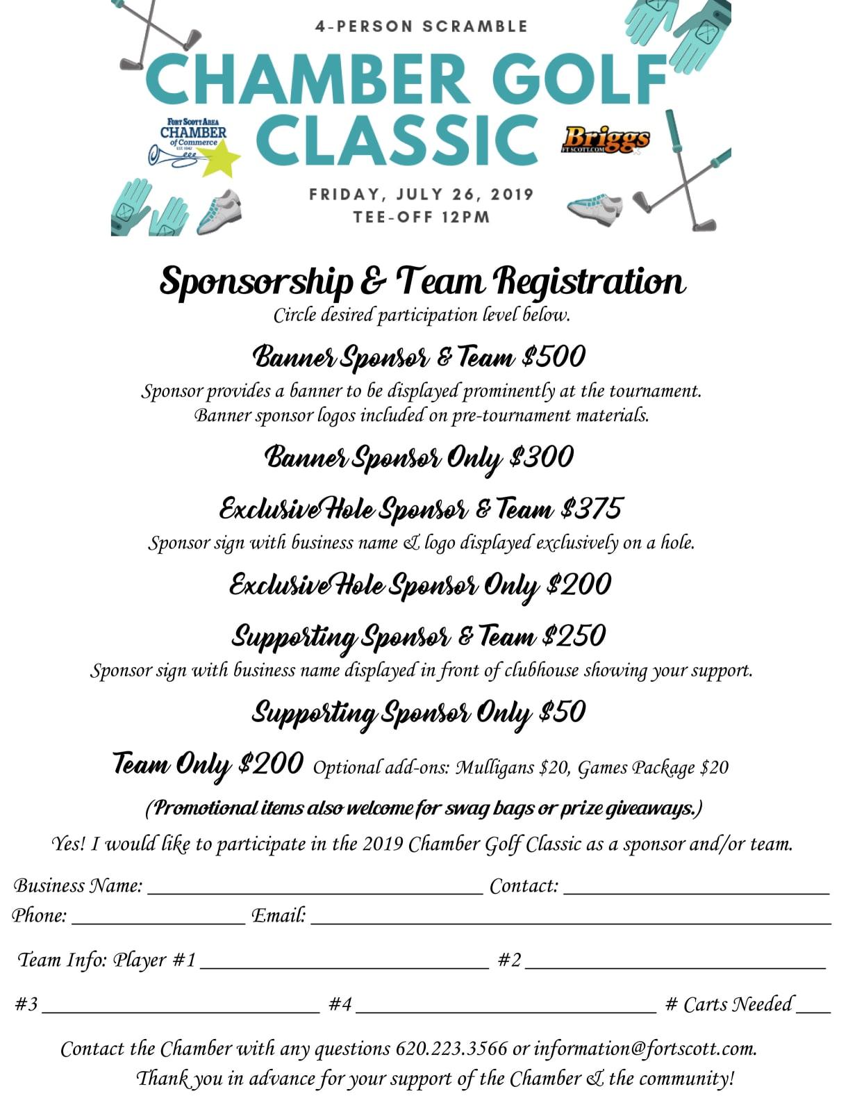 Fort Scott Chamber Golf Tournament Registration